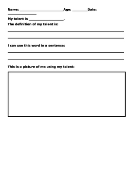 Kids at Hope Talent Report Card Worksheet