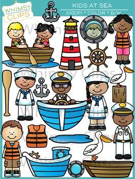 Kids at Sea Nautical Clip Art