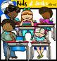 Kids at desks clip art