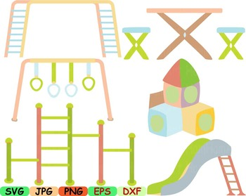 Kids at park clipart svg Playground play school playing Outside Slide Sand -95s