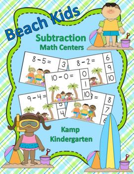 Kids at the Beach Subtraction Math Center (Minuends to 10)