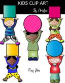 Kids clip art. ~200 Followers FREEBIE! -Color and B&W-