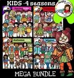 Kids clip art - 4 seasons Mega Bundle   - Color and B&W-