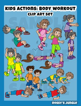 Kids clip art: Body Workout, exercise, warming up or calisthenics