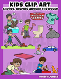 Kids clip art: Chores, helping around the house