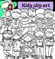 Kids clip art- Color and B&W- Back to School clip art