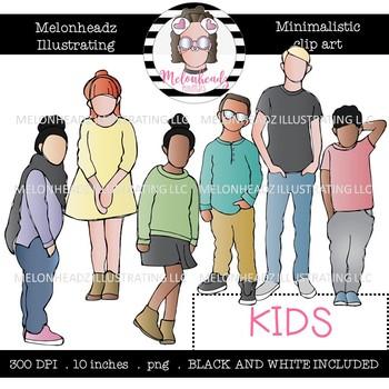 Kids clip art - Minimal Style - Mini - Melonheadz Clipart
