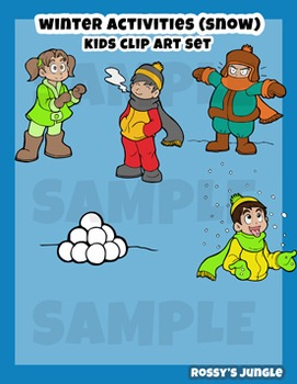 Kids clip art: Winter activities (on a snowy day)