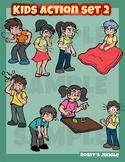 Kids clip art action set 2 - Illness, malaise, ailment sickness or symptoms