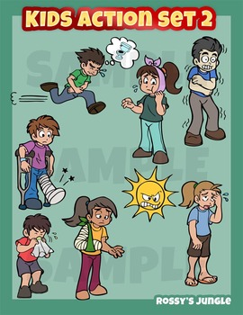 Kids clip art action set 2 - Illness, malaise, ailment sickness or symptoms