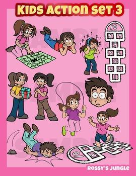 Kids clip art action set 3- 40 miscellaneous actions