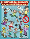 Kids clip art: bad behaviors and hazardous situations