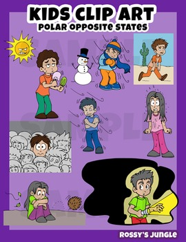 Kids clip art: opposite situations and actions miniset
