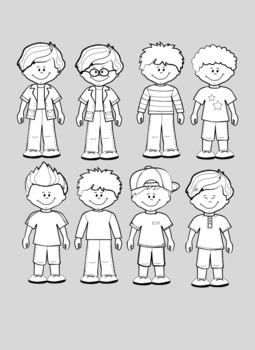 kid standing clipart+black white outlines