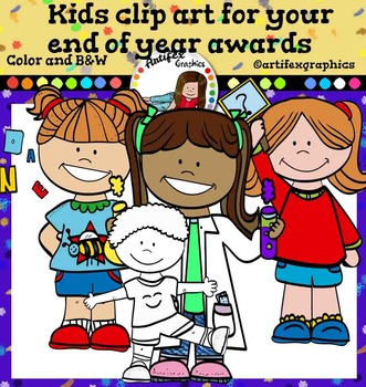 Kids clipart for your end of year awards-Color and B&W- 78 items!