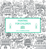 Kids colouring puzzle on the theme of the city, consisting
