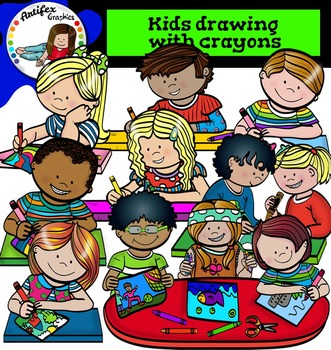 Kids drawing with crayons- Color and B&W-