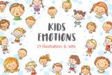 Kids emotions bundle, children with various emotion
