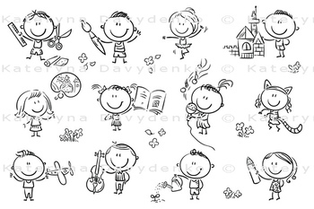 Kids engaged in different creative activities