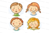 Kids faces with emotions
