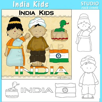 India Kids color and line drawings clip art C. Seslar