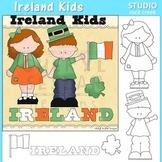 Ireland Kids color and line drawings clip art C. Seslar