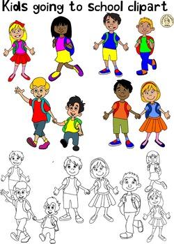 Kids going to school Clipart