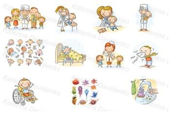 Kids healthcare, kids and doctors
