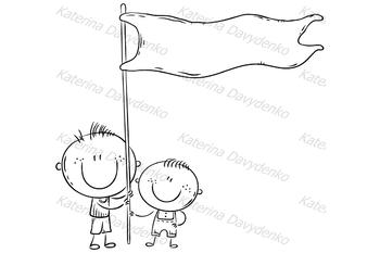 Kids holding a blue flag