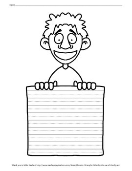 Kids holding lined writing paper