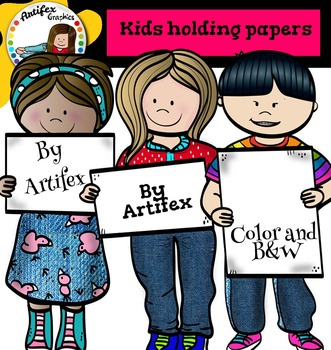 Kids holding papers clip art  - Color and B&W-