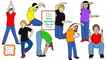Kids in Action:  Body Alphabet Clip Art 52 pngs