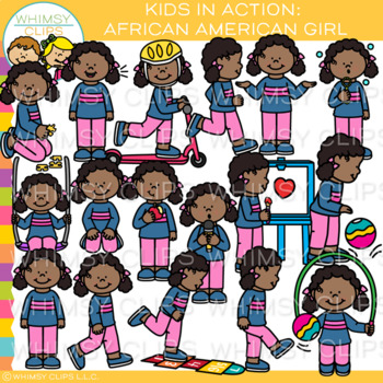 Kids in Action Clip Art: African American Girl