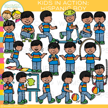 Kids in Action Clip Art: Hispanic Boy