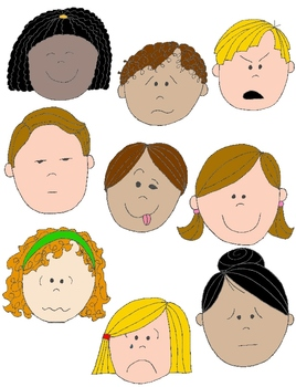 Kids in Action: Faces 1 Clip Art 18 pngs to Show Feelings ...