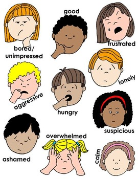 Kids in Action: Faces 3 Clip Art 36 pngs to Show Feelings and Emotions