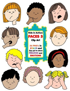 Kids in Action: Faces 3 Clip Art 36 pngs to Show Feelings
