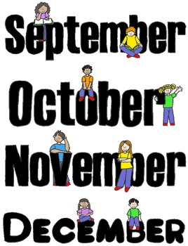 Kids in Action Months of the Year Clip Art:  24 PNGs