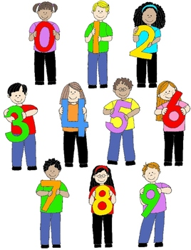 Kids in Action:  Number Kids Clip Art 22 PNGs
