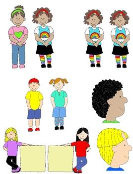 Kids in Action: Opposites Clip Art 2  48 PNGs of Illustrat