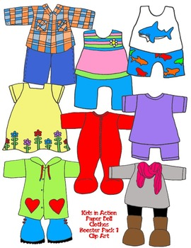 Kids in Action: Paper Doll Clothes Booster Pack 1 Clip Art 99 PNGs