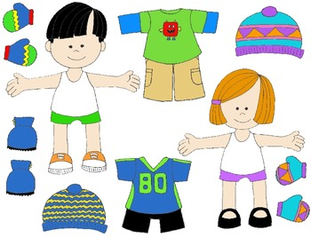 kids in action paper dolls for fall and winter clip art 61 png s rh teacherspayteachers com paper doll chain clipart boy paper doll clipart
