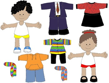 Kids in Action: Paper Dolls for Fall and Winter Clip Art 61 PNG's