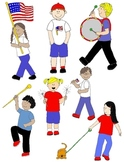 Kids in Action: Parade Clip Art 28 PNGs for Independence Day