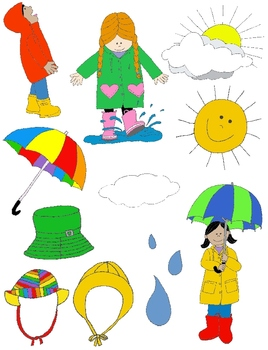 Kids in Action: Rainy Day Clip Art! 37 PNGs by Rebekah ...
