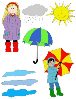 Kids in Action: Rainy Day Clip Art!  37 PNGs