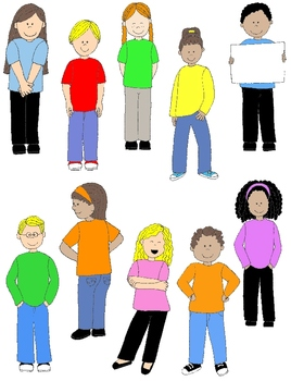 Kids in Action:  Smiling Happy People Clip Art  36 PNGs