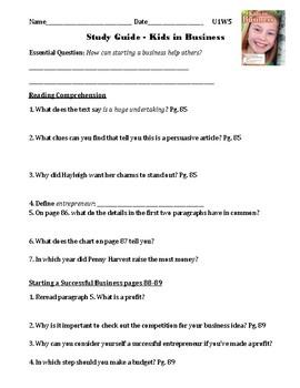 Kids in Business Reading Wonders Unit 1 Week 5