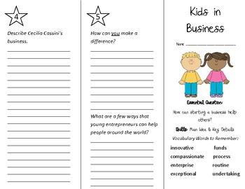 Kids in Business Trifold - Wonders 4th Grade Unit 1 Week 5