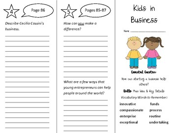 Kids in Business Trifold - Wonders 4th Grade Unit 1 Week 5